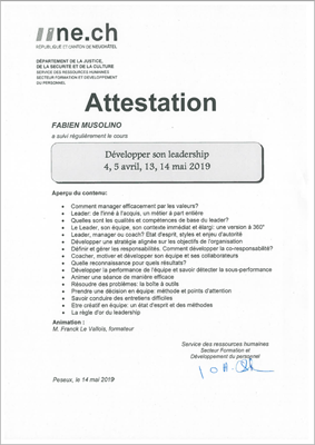 Attestation de cours Développer son leadership
