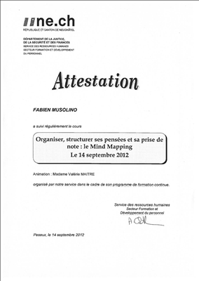 Attestation de cours Mind Mapping