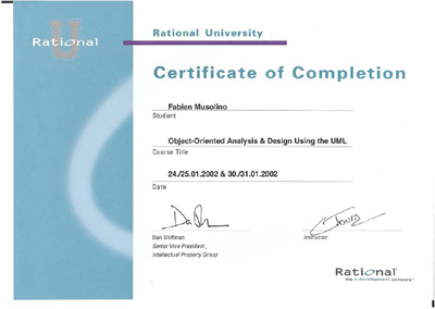 Attestation de cours Object Oriented Analysis and Design using UML