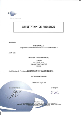 Attestation de cours SilverStream Programming Basics